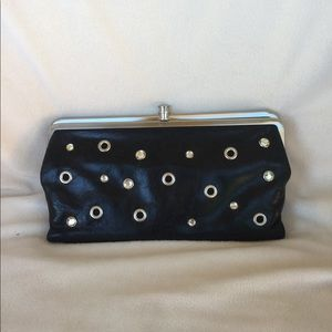 Hobo International Black Leather Wallet with Bling